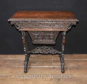 アンティークの手作りのビルマの机テーブル1890のハードウッドを書く