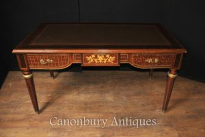 フランス帝国の机ライティングテーブル局の寄木張りのインレイ