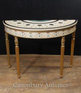 単一アダムス ドゥミ リュンヌ コンソール テーブル テーブルの塗装