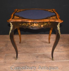 アンティークフランス帝国のゲームテーブル花の寄せ木細工のインテリア