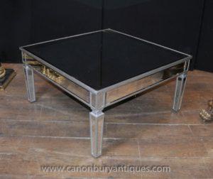 アールデコミラーコーヒーテーブルガラスカクテルテーブル