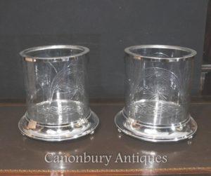 ペアビクトリア朝シルバープレートカットガラスUrns花瓶プランター