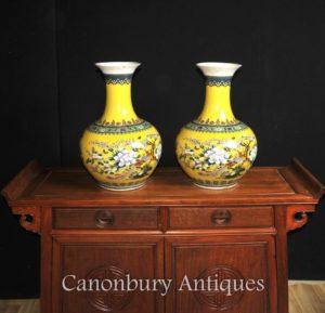 ペア中国のファミーユJauneの磁器の花瓶壺Shangpingフォーム