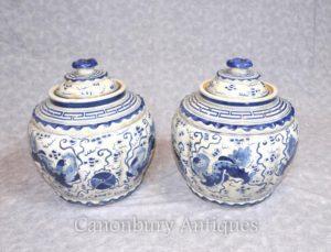 ペア康熙来陶器の蓋付きの壷の花瓶のポット中国の青と白の磁器