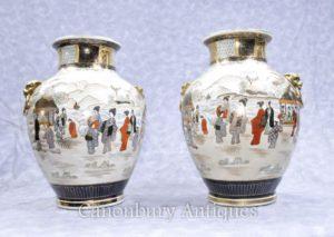 ペア日本の薩摩磁器の花瓶は、手塗り