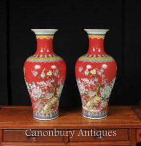 対中国嘉興磁器鳥の花瓶帝国赤