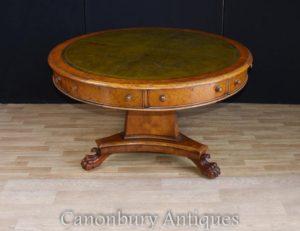 リージェンシーウォルナットセンターテーブルレザートップドラムテーブル