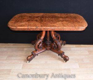 ヴィクトリア朝バーグウォールナットサイドテーブルデスク1880