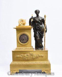 アンティークフランス帝国金箔ブロンズマントル時計