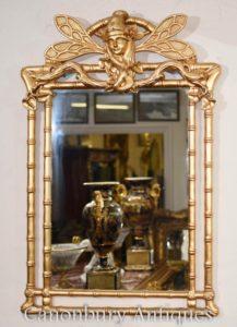 アールヌーボー金箔の桟橋トンボ鏡