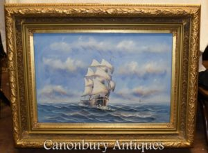 英語の油絵の船の海の風景海洋のアート