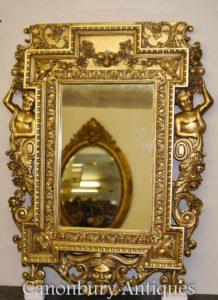 英語チッペンデール金箔の桟橋の鏡Atlas Satyr