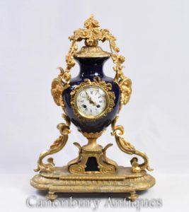フランス帝国マントル時計オルモルと磁器時計