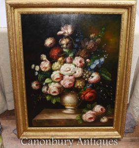 大きなビクトリア朝の花のディスプレイ静物油絵