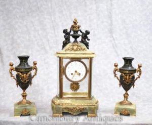 アンティークエンパイアオニキス金時計セット時計のケルビムガニチャ
