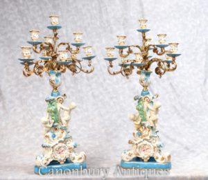 対フランスのセーブル磁器天使の燭台キャンドル