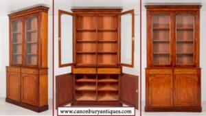 ビクトリア朝の図書館の書棚-1860年頃のアンティークディスプレイキャビネット