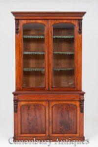 ビクトリア朝の本棚のガラス飾り戸棚は1860年頃艶をかけました