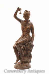 イタリアのブロンズローマの乙女像-女性の置物