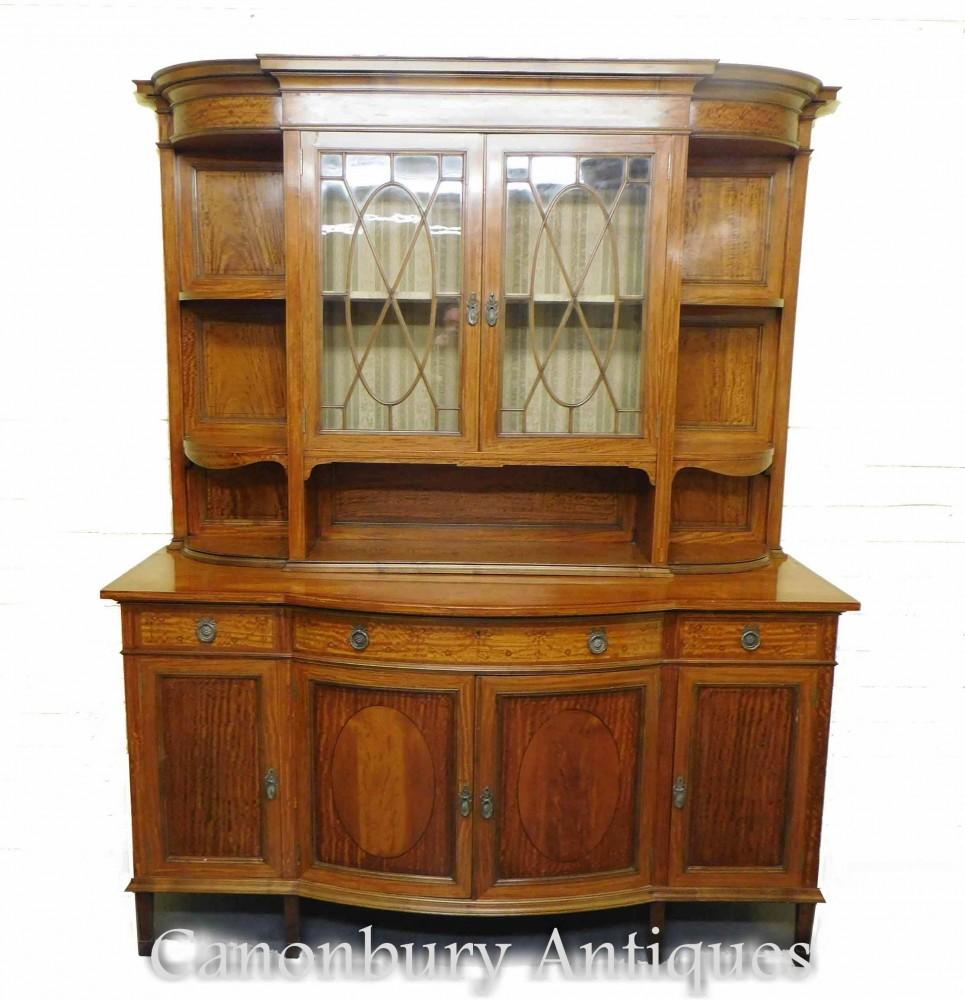 ビクトリア朝の陳列棚-アンティークサテンウッドメープルアンドカンパニー1880