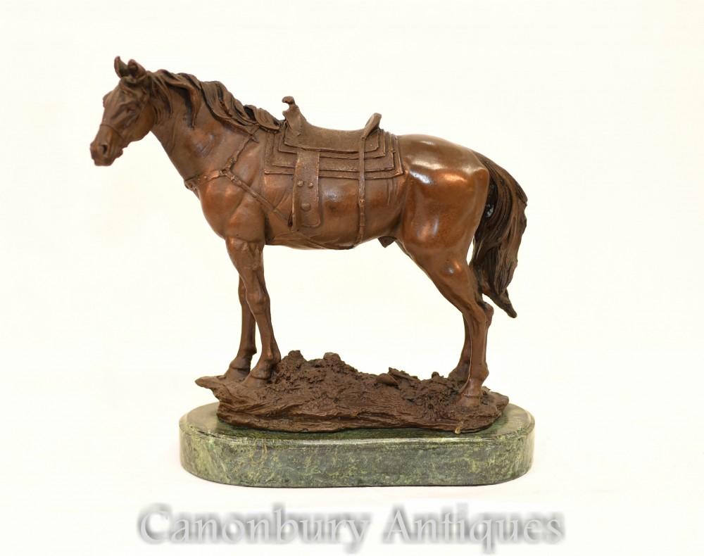 フランスのブロンズ馬像-騎馬像