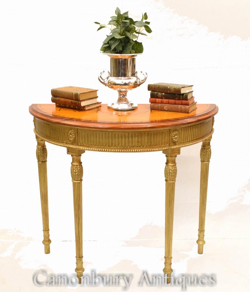 ペアアダムスコンソールテーブル-リージェンシーギルトデミルーンホールテーブル