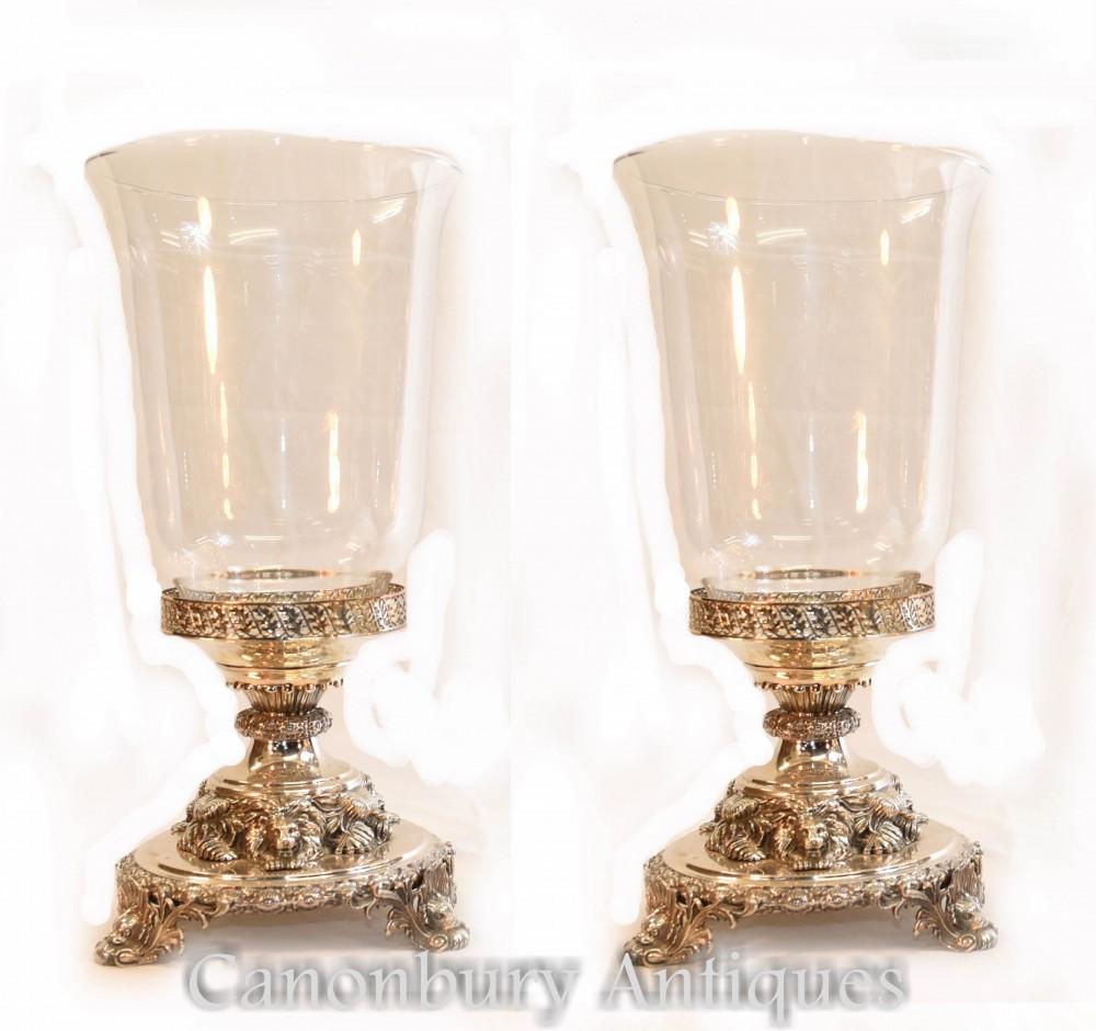 ペアジョージ3世シルバープレートガラス花瓶ライオンベース