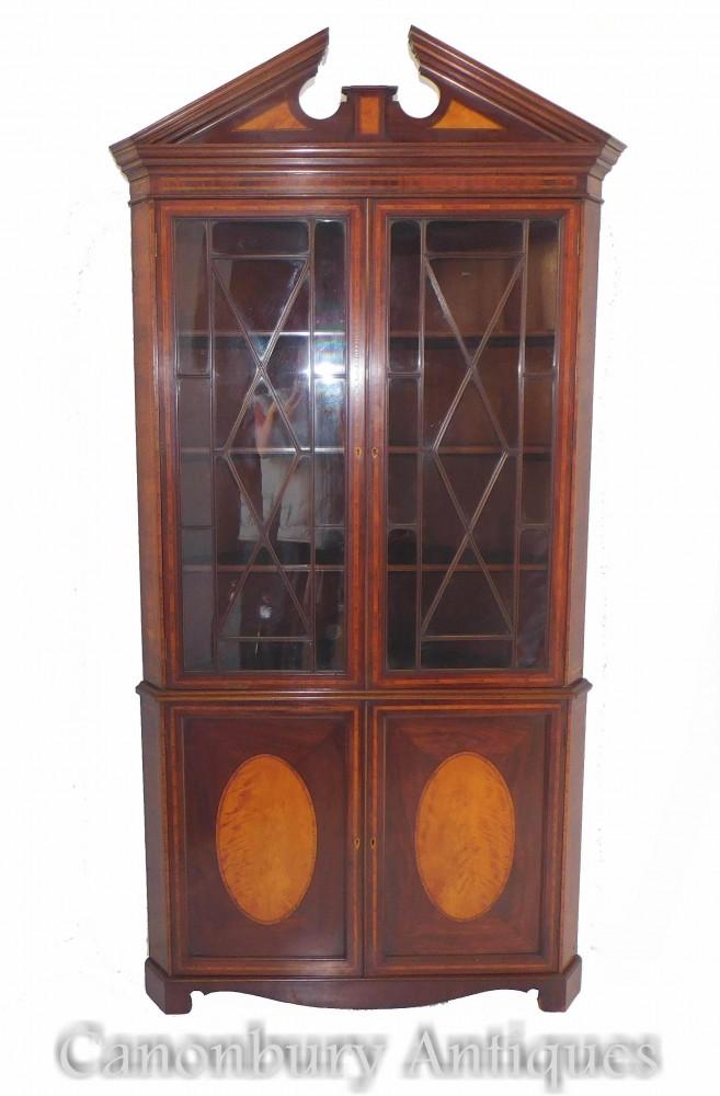1820年頃のアンティークジョージアンコーナーキャビネット本棚